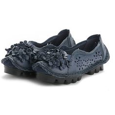 eb0b856b81e SOCOFY Flower Hollow Out Genuine Leather Original Soft Flat Loafers is  cheap and comfortable. There are other cheap women flats and loafers online.