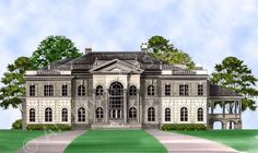 Fountainbleau House Plan Front Rendering