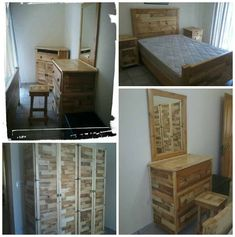Main bedroom all made from pallets including pallet bed. About 20 pallets and about 1500 nails has been used to do it all and it took me about 5 week, about 100 hours cause I worked on it after work.