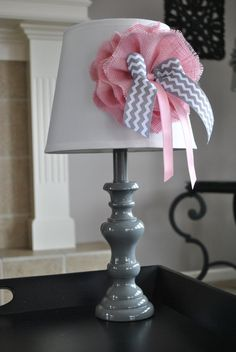 Pink grey and white nursery lamp Toddler room by MemoBoardsNMore