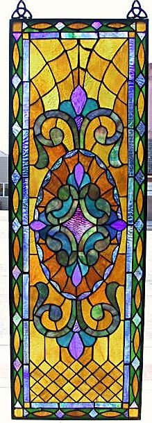 Quilted Victorian Stained Glass Window Panel