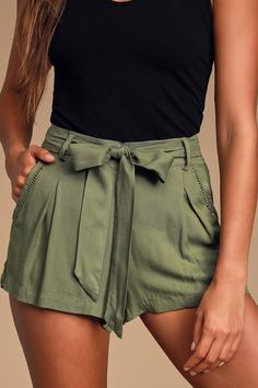 Climb the Ladder Olive Green Belted Shorts shorts shorts shorts shorts outfits shorts Cute Summer Outfits, Cute Casual Outfits, Short Outfits, Short Dresses, Shorts For Summer, Beach Outfits, Green Shorts Outfit, Olive Green Shorts, Outfits With Jean Shorts