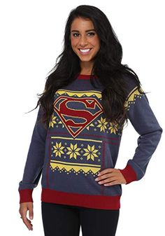 Fight the cold of winter in this exclusive Women's Superman Ugly Christmas Sweater. It features a navy sweater with red and gold accents and has a Superman logo on the front. Kids Christmas Sweaters, Cute Christmas Sweater, Holiday Sweater, Navy Sweaters, Ugly Sweater, Pullover Sweaters, Sweat Shirt, Harley Quinn, Supergirl