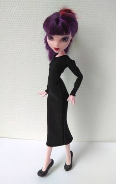 Black dress to the calf with long New Year Holidays, Christmas And New Year, Monster High Doll Clothes, Body Size, Custom Dolls, Ever After, Dress Black, All Things, Long Sleeve