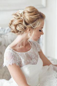 elegant curly chignon bridal updo wedding hairstyle