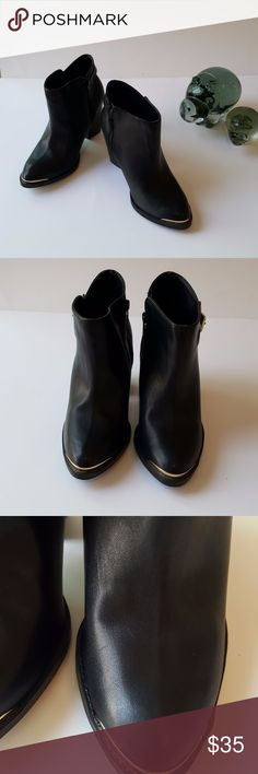 Rock &  Republic Women's Booties Size 8 Rock & Republic Women's Booties Size 8 Colour Black Pointy Toe- Smooth Black On Front & Crocodile Texture Around Back Gold Tips On Toe Zipper On Sides, Black Strap With Gold Buckle On Side Excellent Condition, Tiny Scratches On Front Toe Of Boot But Hard To See To The Naked Eye, Minimal Wear On Soles Rock & Republic Shoes Ankle Boots & Booties