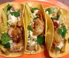 Fresh fish tacos with avocado - you can try it with guacamole, too. Do!