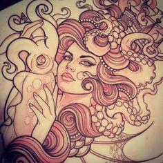 tentacle girl, tattoo design (kinda rockabilly?)