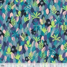 Blend Fabrics - Katy Tanis - Bwindi Forest - Mountain Gorilla Blue