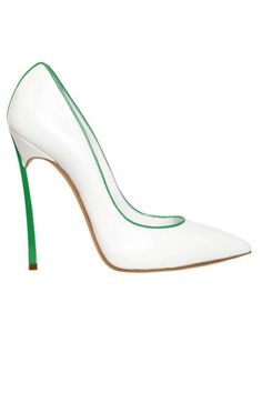 White stilettos get a touch of color with a bright outline