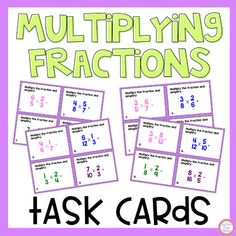 24 multiplying task cards with models. Great for center activities, independent practice, whole class scoot activities and more. Student recording sheet and answer key included. If interested please check out my fractions bundle that includes 9 center activities for a discounted price. Fraction Bun...