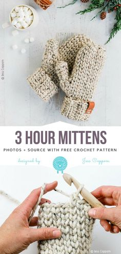 3 Hour Mittens Free Crochet PatternThe Thunderstorm toque is a fantastic knitting pattern featuring cables and bobbles. The resulting knitting project. Crochet Diy, Crochet Afghans, Afghan Crochet Patterns, Crochet Crafts, Yarn Crafts, Sewing Crafts, Knitting Patterns, Chunky Crochet, Scarf Crochet