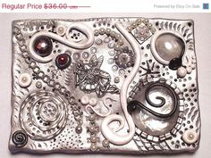 Easter Sale - Mixed Media Polymer Clay Tile - Winter's Night  OOAK. $32.40, via Etsy.
