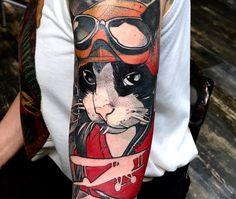 cool cat tattoo sleeve by @bobmosquitotattoo
