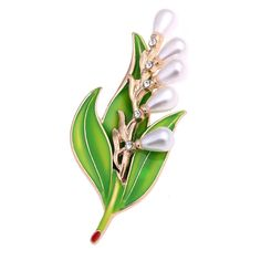 MloveAcc Fashion Imitation Pearl Crystal Vintage Bridal Enamel Flower Leaf Brooches Pin for Scarf Buckle Clothes Accessories Lily Of The Valley Flowers, Women's Brooches, Festival Accessories, Flower Shoes, Bridal Hair Flowers, Rhinestone Wedding, Flower Hair Clips, Vintage Bridal, Flower Brooch