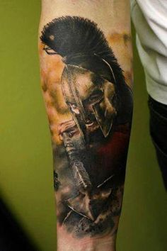 What does spartan tattoo mean? We have spartan tattoo ideas, designs, symbolism and we explain the meaning behind the tattoo. Tattoos Masculinas, Black Tattoos, Body Art Tattoos, Sleeve Tattoos, Cool Tattoos, Tatoos, Gladiator Tattoo, Guerrero Tattoo, Spartan Tattoo