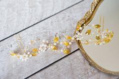Pearl Crown Hair Vine Gold Bridal Headpiece Crystal от Mlleartsy