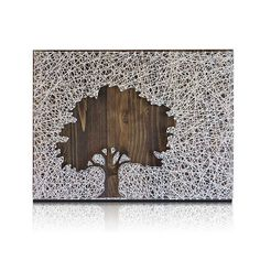 Inverse Oak Tree String Art Kit Tree String Art DIY Kit - This but a whole wall! And then use clothes pins to hang pics. Arts And Crafts Projects, Diy And Crafts, Art Adulte, String Art Diy, String Crafts, Nail String, String Art Patterns, Doily Patterns, Dress Patterns