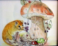 Dormouse and toadstool watercolour by Inkflo