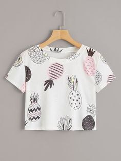 Shop Fruit Print Crop Tee at ROMWE, discover more fashion styles online. Girls Fashion Clothes, Teenage Girl Outfits, Cute Girl Outfits, Teen Fashion Outfits, Cute Casual Outfits, Teenager Outfits, Pretty Outfits, Girl Fashion, Jugend Mode Outfits