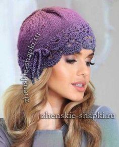 Вязание шапки с кружевом