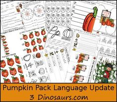 Free Pumpkin Pack Update: Language Activities - 61 pages added with Language, cursive and ABC Activities for pages 4 to 10 - 3Dinosaurs.com