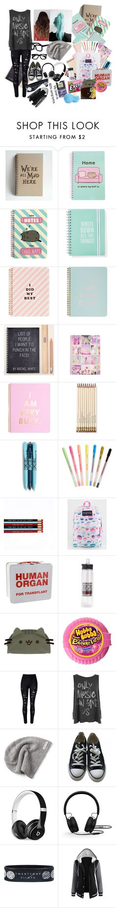 """""""Back 2 school"""" by jasminebakmcm ❤ liked on Polyvore featuring Pusheen, ban.do, Kate Spade, Vera Bradley, JanSport, WithChic, Junk Food Clothing, Converse, Beats by Dr. Dre and Retrò"""