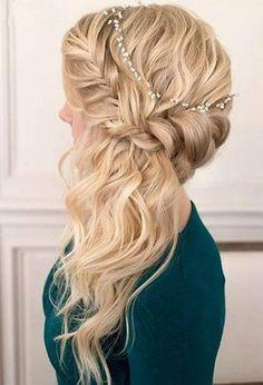 Wedding hairstyles to the side curls bridesmaids half up half down ideas - Best Frisuren ideen Side Swept Hairstyles, Down Hairstyles, Easy Hairstyles, Prom Hairstyles, Fashion Hairstyles, Pretty Hairstyles, Hairstyles Videos, Side Curls, My Hairstyle