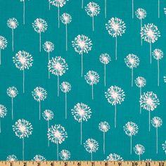 Premier Prints Small Dandelion Turquoise/White Fabric
