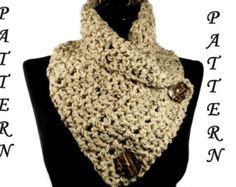 Crochet Infinity Scarf Pattern, Crochet Cowl Pattern, Crochet Scarf Pattern, Button Scarf, Button Cowl, Chunky Crochet Scarf Neckwarmer #108