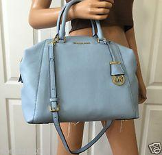 NWT Michael Kors Large Riley Satchel Leather Tote Shoulder Blue Gold Bag Purse