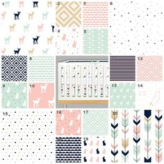 Sweet Woodlands (Custom Crib Set) Baby Bedding, Crib Bedding, Mint, Peach, Pink, Gold, Navy Pastel, Deer, Fawn, Arrows Baby Nursery