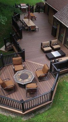 Backyard Patio Designs, Pergola Patio, Pergola Kits, Pergola Ideas, Railing Ideas, Patio Ideas, Landscaping Ideas, Backyard Decks, Backyard Landscaping