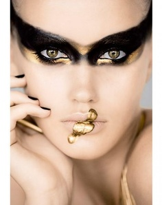 costum, eye makeup, lip, black swan, mask, beauti, black gold, avant garde, eyes