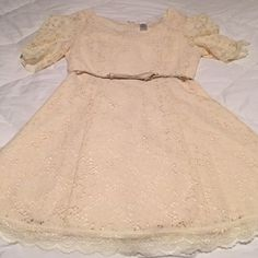 Eyelet dress Beautifu Ivory dress. Eyelet and lace. Belt included. Worn once. Esley Dresses