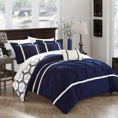 Chic Home Avee Navy Comforter 4 Piece Set - 19602222 - Overstock - Great Deals on Chic Home Comforter Sets - Mobile Navy Comforter, Blue Comforter Sets, King Comforter, Bedding Sets, Beach Comforter, Bedroom Comforters, Blue Bedding, Gray Bedroom, Bedroom Decor