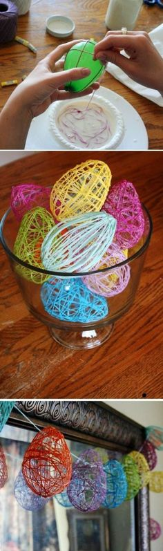 DIY Crochet Easter Egg Garland, Easter wreath ideas, DIY Easter craft decoration ideas, Creative Easter decor ideas ... Or fill with candy:) #CrochetEaster