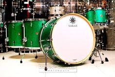 Sakae Trilogy 4pc Rock Drum Set Green Sparkle