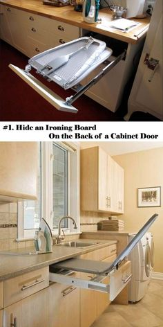 #1. Hide an Ironing Board on The Back of A Cabinet Door | 25 Clever Hideaway Projects You Want To Have at Home