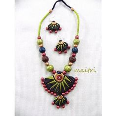 Terracotta Jewellery_The Multicolor Double Pendant - Online Shopping for Necklaces by Maitri Crafts