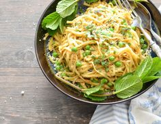 Linguine in Brown Butter with Parmesan, Peas and Mint for a delicious light and spring season meal // Karista's Kitchen