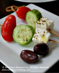 Such a simple and easy idea for an appetizer with Greek flair - Could be beautiful presentation and great addition for those looking for healthier alternatives.
