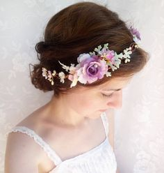 bridal floral crown light purple hair circlet by thehoneycomb on etsy, $105.00