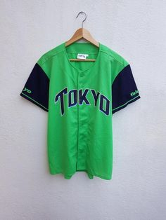 46290bf1b Vintage 90s MLB TOKYO Yalkut Japan Baseball Green Neon Stripes Ring Printed  Logo Jersey Shirt Size F
