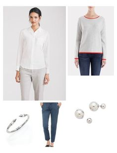 Chinos are a chic alternative to jeans on the weekend - layer a white blouse & lightweight knit for a polished look. Perforated leather espadrilles are on-trend, and help keep the outfit casual & comfortable.