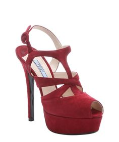 Prada red suede cutout peep toe platform pumps | BLUEFLY up to 70% off designer brands
