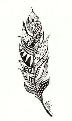 Feather Print This is a print of a feather illustration I did. It is originally done in ink pens. The print is x 11 Feather Drawing, Feather Art, Mandala Drawing, Feather Tattoos, Mandala Art, Mandala Feather, Feather Sketch, Feather Painting, Mandala Tattoo