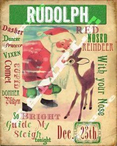 Retro Vintage Style Rudloph The Red Nosed by tinyblessingstx, $10.00