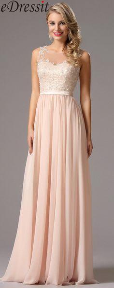 Elegant A Line Pink Chiffon Evening Dress
