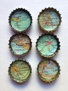 Bottle Cap Magnets Recycled Atlas/ Map I can make . - Bottle Cap Magnets Recycled Atlas/ Map I can make … – Bottle Cap Magnets, Bottle Cap Art, Bottle Cap Jewelry, Map Crafts, Diy And Crafts, Upcycled Crafts, Garrafa Diy, Bottle Cap Projects, Diy Bottle Cap Crafts